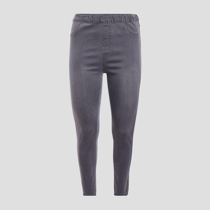 Pantalon jegging femme grande taille denim gris