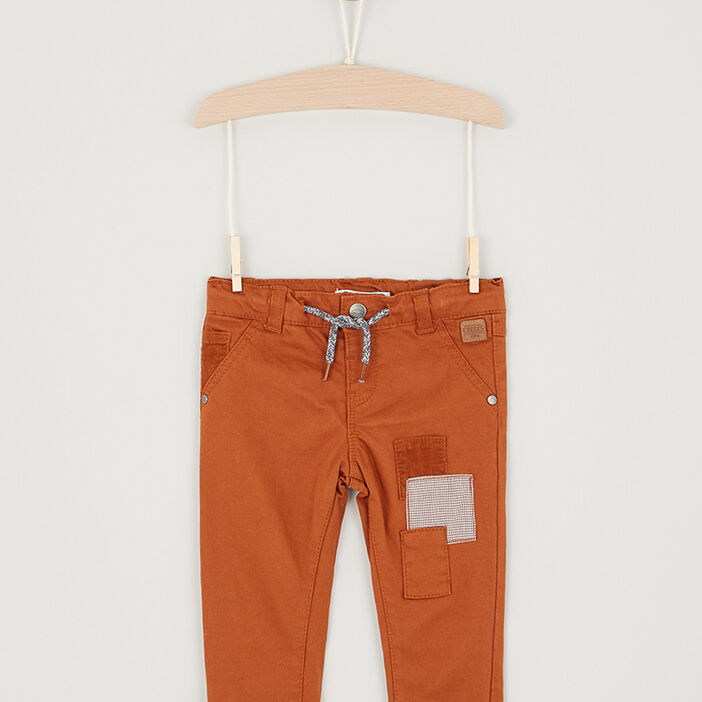 Pantalon détails contrastés coton bébé garçon camel