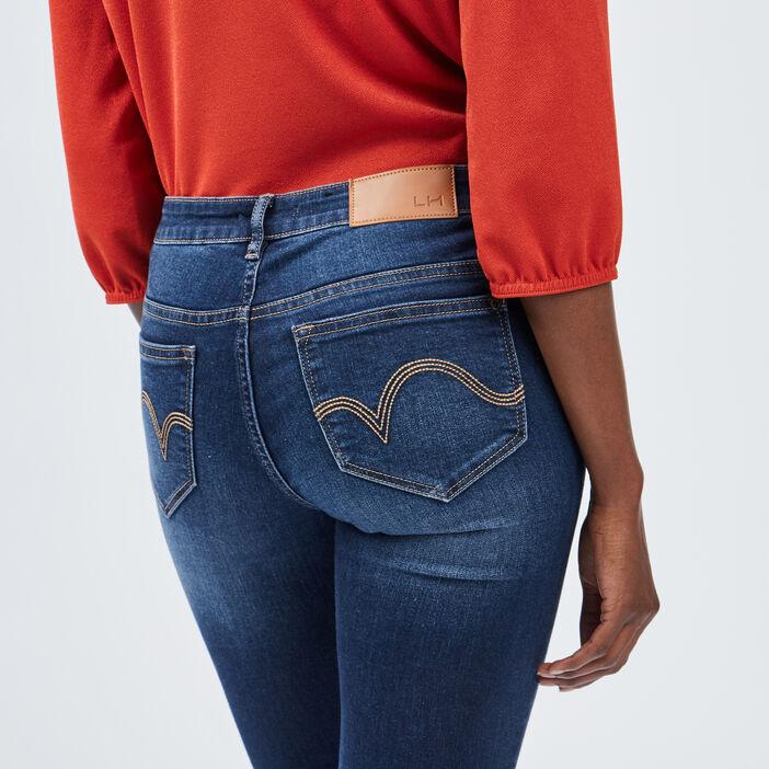 Jeans skinny taille basse femme denim brut