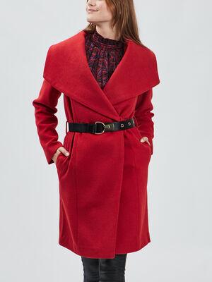 Manteau droit ceinture rouge femme