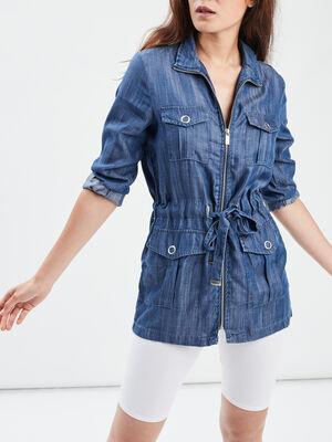 Veste cintree zippee denim stone femme