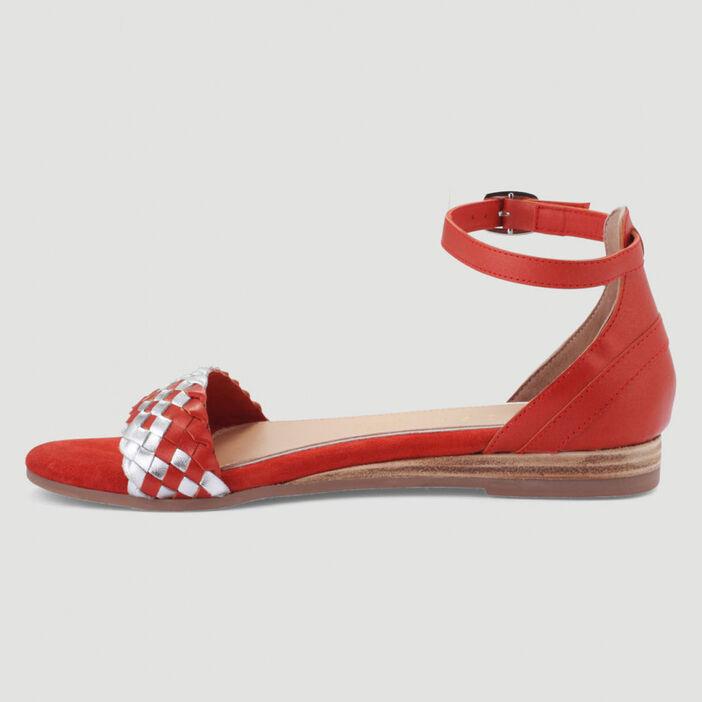 Sandales tressées cuir talon plat femme rouge