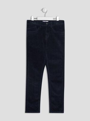 Pantalon slim velours cotele bleu marine garcon