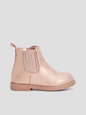 Bottines chelsea zippees rose bebef