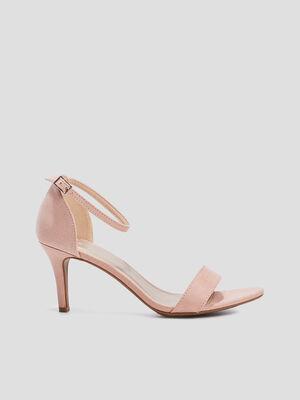 Sandales facon cuir retourne uni rose femme
