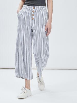 Pantalon droit large ecru femme