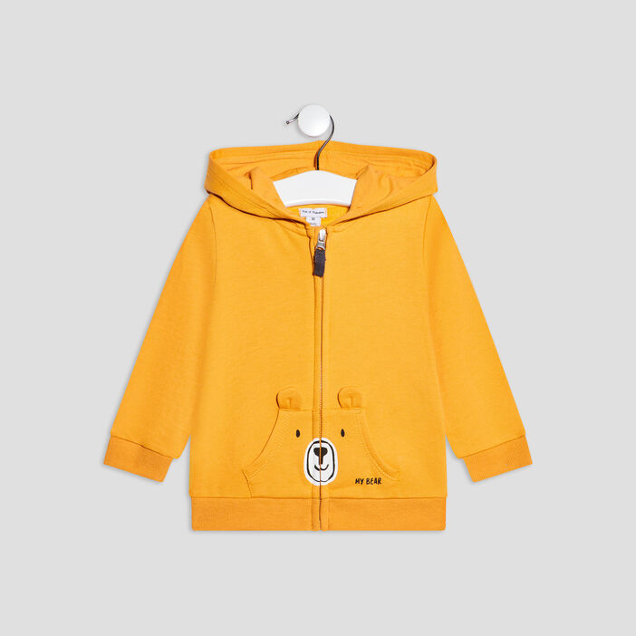 Gilet zippé à capuche bébé garçon jaune moutarde