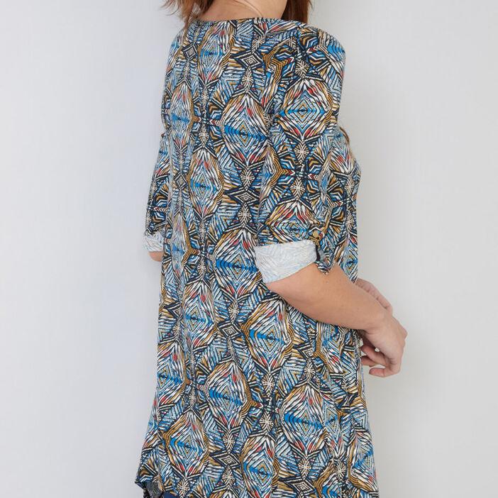 T-shirt imprimé à base asymétrique femme bleu