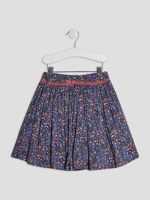 Jupe evasee detail noeud multicolore fille