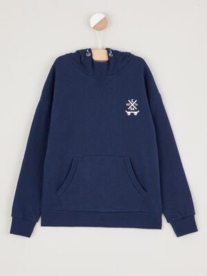 Sweatshirt a capuche avec imprime bleu marine garcon