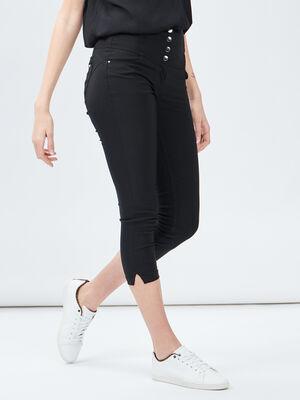 Pantacourt skinny taille haute noir femme