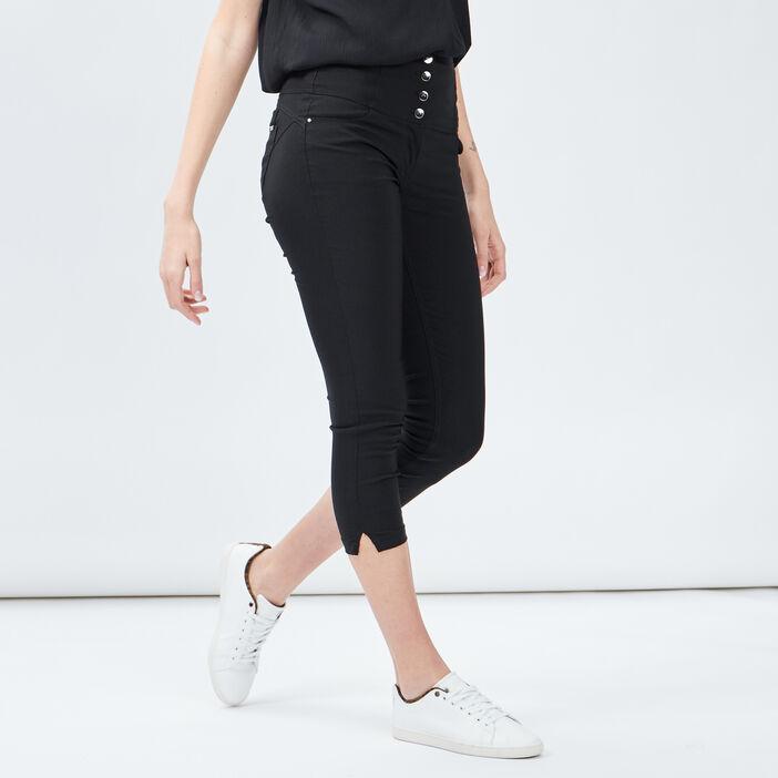Pantacourt skinny taille haute femme noir