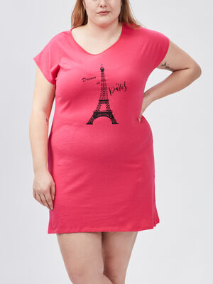 Chemise de nuit grande taille rose fushia femmegt