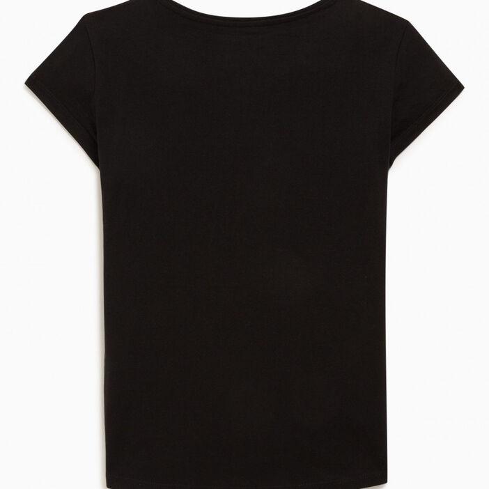 T-shirt uni en coton fille noir