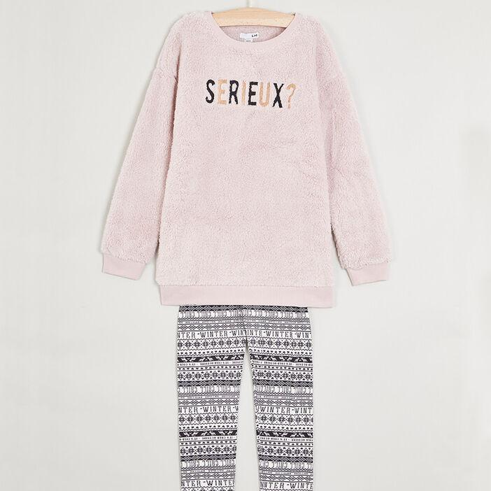 Pyjama long à message fille rose
