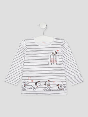 T shirt 101 Dalmatiens blanc bebef