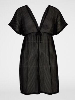 Robe de plage decolletee ajouree noir femme