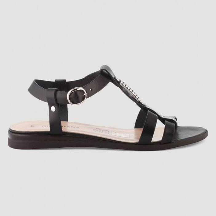 Sandales en cuir bride fantaisie femme noir