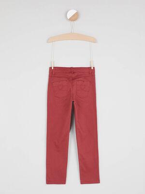 Pantalon skinny avec bouton coeur orange fonc fille
