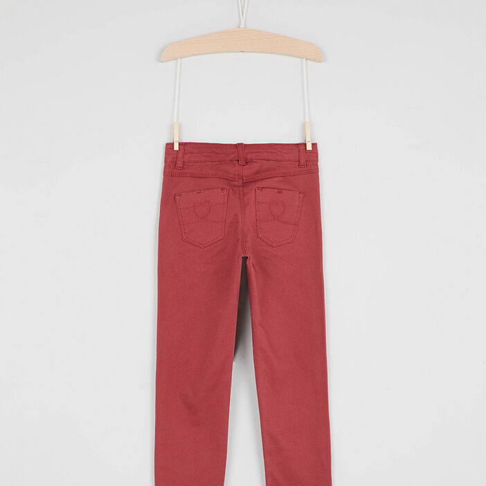 Pantalon skinny avec bouton cœur fille orange foncã‰