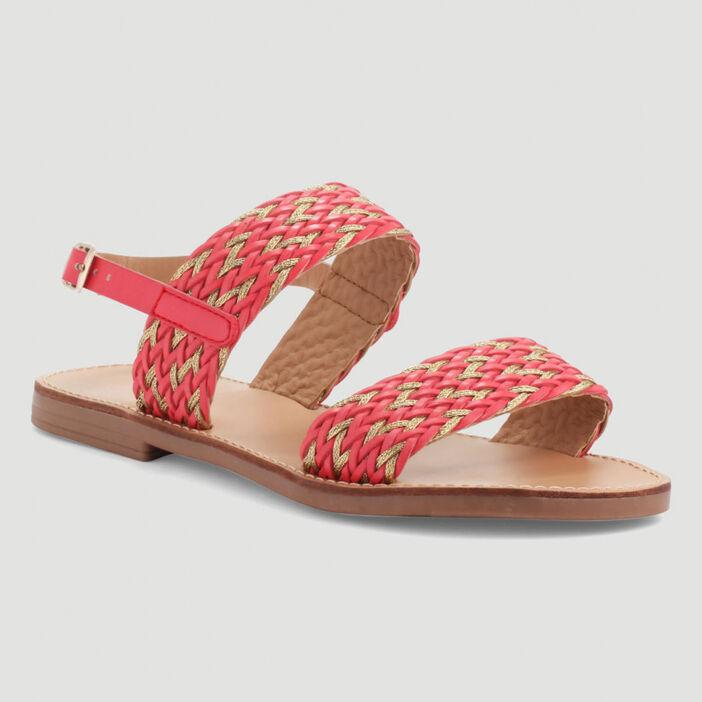 Sandales plates à brides tressées femme orange corail