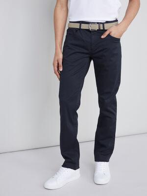 Pantalon avec ceinture tressee bleu homme