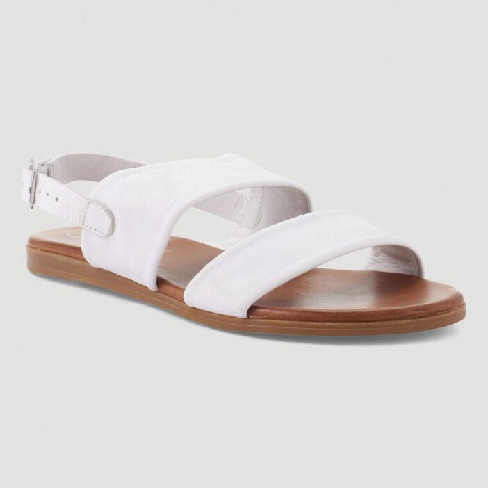 Sandales cuir larges brides unies femme blanc