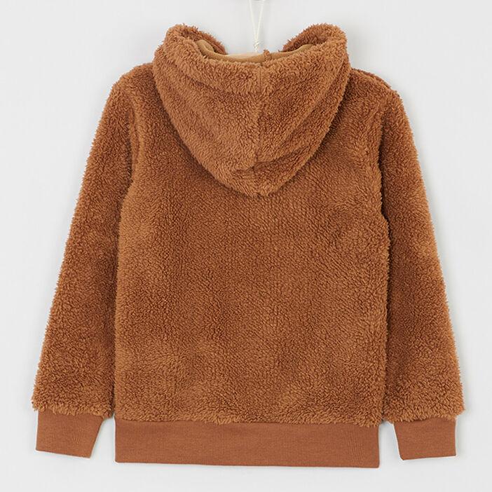 Sweatshirt sherpa à capuche garçon camel