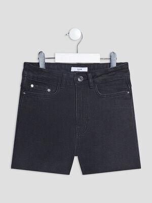 Short straight en jean taille ajustable denim noir fille