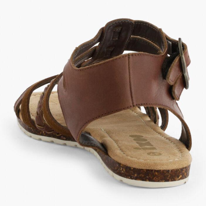 Sandales plates en cuir femme marron