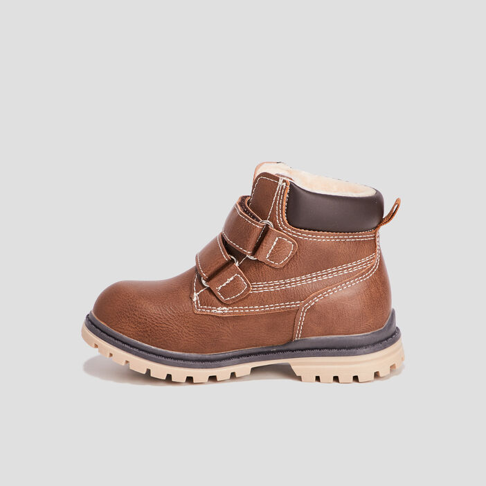 Boots fourrées 2 scratchs garçon marron