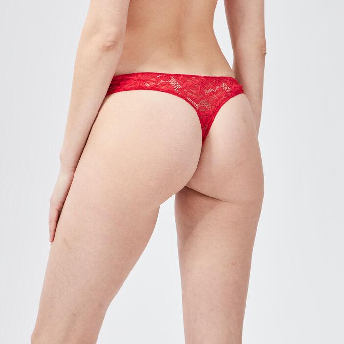 Culotte tanga en dentelle femme rouge