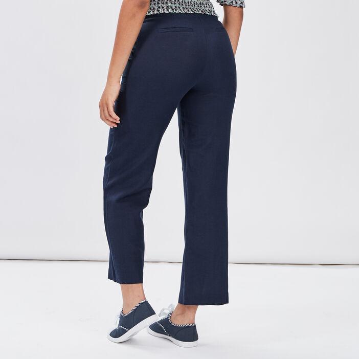 Pantalon droit boutonné femme bleu marine