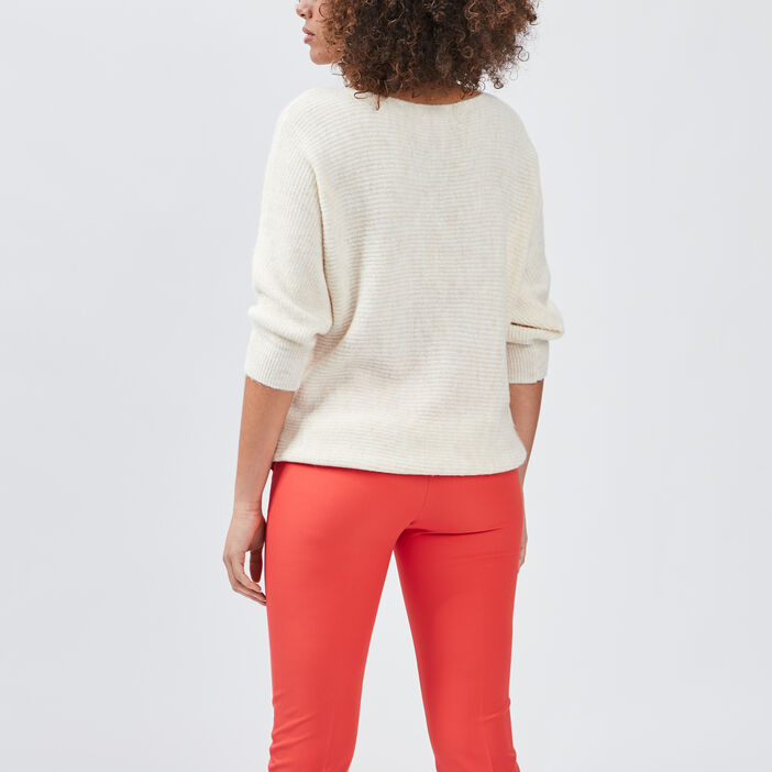 Pull manches 3/4 femme beige