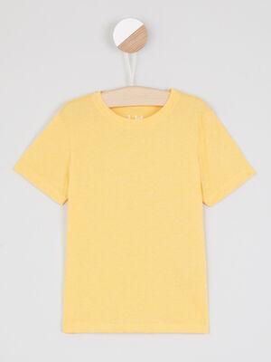 T shirt faux uni manches courtes jaune moutarde garcon