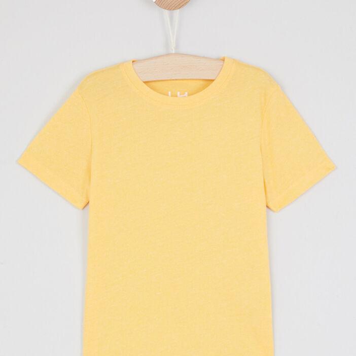 T-shirt faux uni manches courtes garçon jaune moutarde
