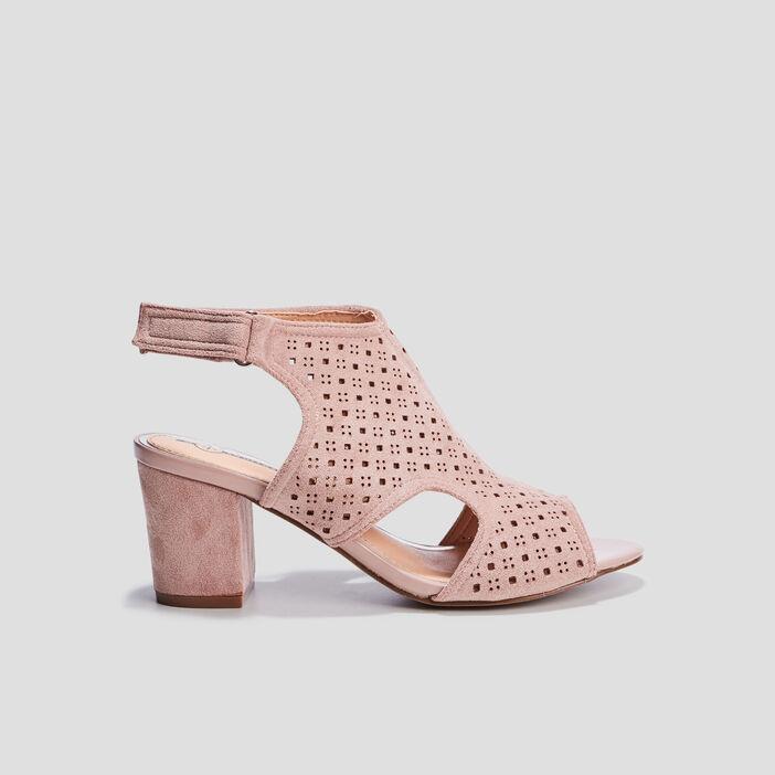 Sandales à talons perforées femme rose
