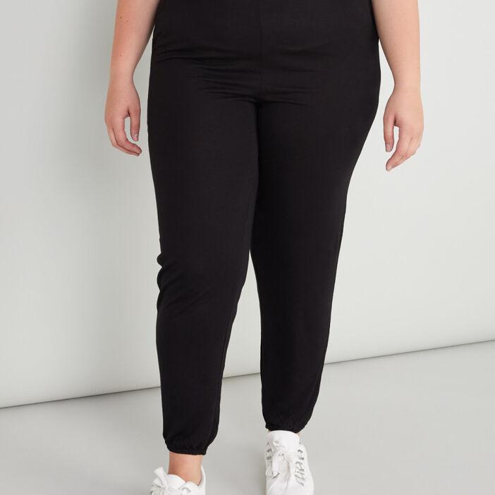Pantalon uni taille extensible femme noir