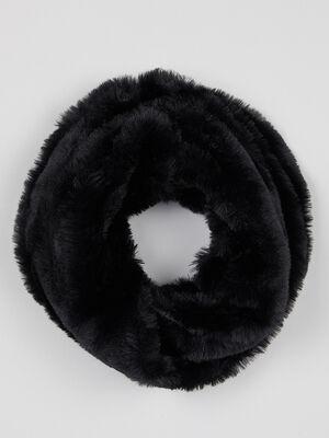 Tour de cou maille duveteuse noir mixte