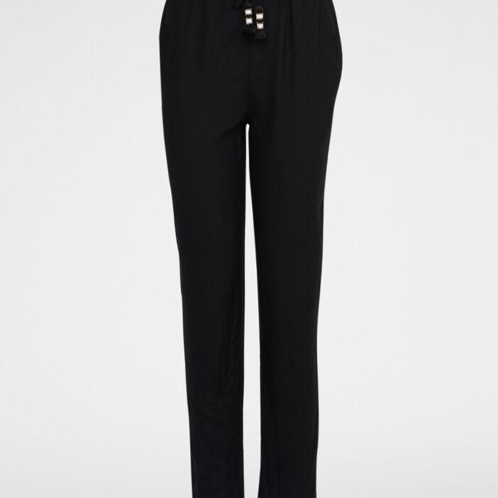 Pantalon droit fluide taille élastiquée femme noir