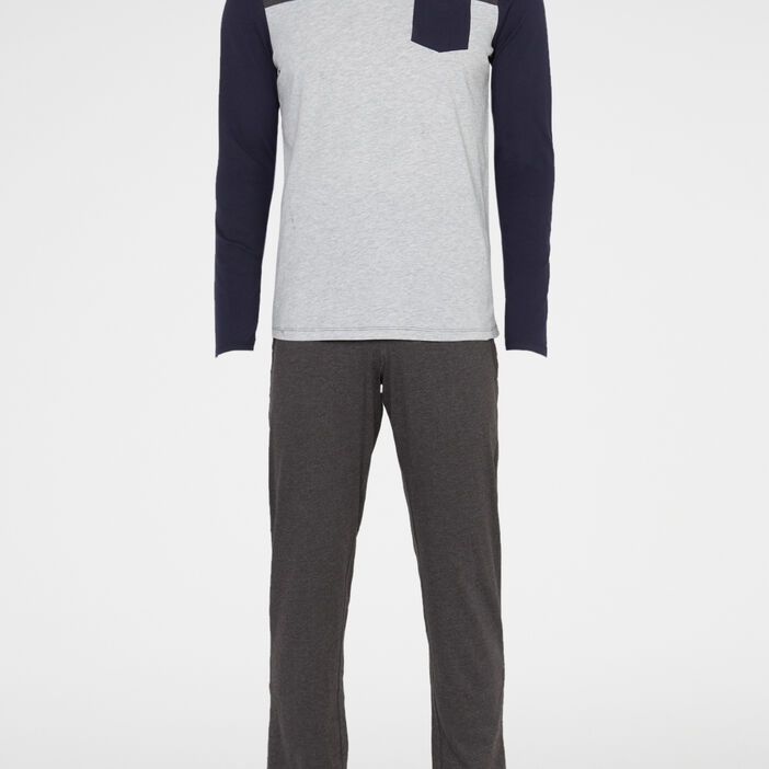 Pyjama long 2 pièces tricolore homme gris foncé