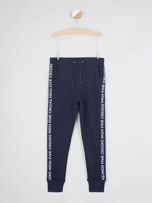 Pantalon slim facon jogging bleu marine garcon