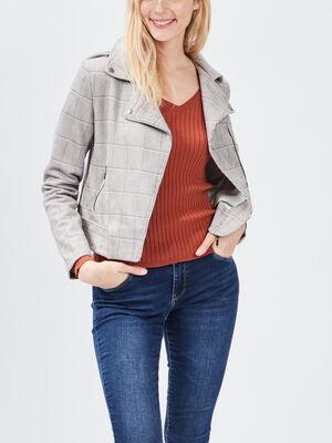 Veste droite zippee multicolore femme