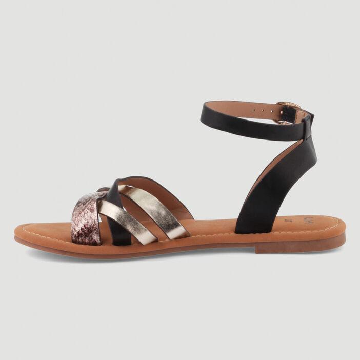 Sandales à boucle métallique femme noir