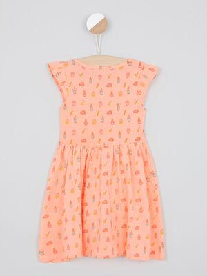 Robe maille orange fluo fille