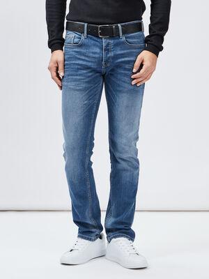 Jeans straight avec ceinture denim double stone homme