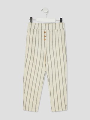 Pantalon droit avec boutons beige fille