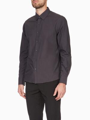 Chemise droite unie manches longues gris fonc homme