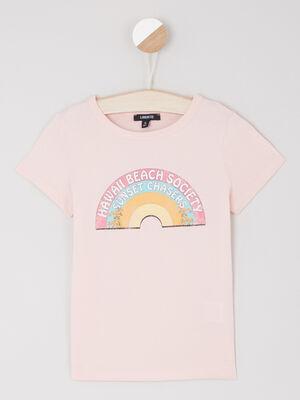 T shirt en coton avec imprime rose fille