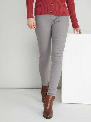 Pantalon uni coupe skinny gris femme